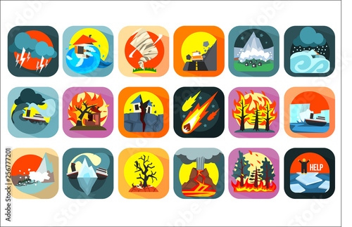 Fotografia  Icons set of natural disaster, catastrophe and crisis situations