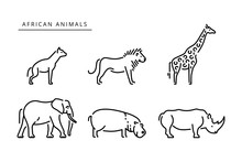 African Savanna Animals Set Ou...