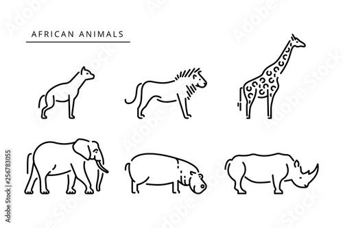 Fényképezés African savanna animals set outline vector illustration