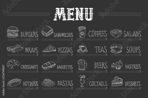 Fototapeta Cafe menu with food and drinks on chalkboard. Sketch of burger, wrap, croissant, hot dog, sandwich, pizza, pasta, coffee, tea, beer, cocktail, salad, soup, pastry, dessert. Hand drawn vector design obraz
