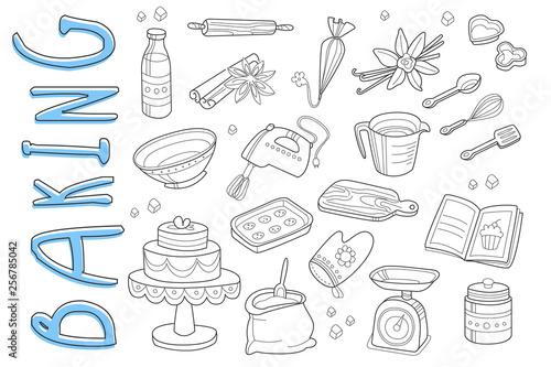 Obraz na plátne Vector set of hand drawn icons on baking theme