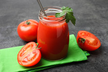 Fresh Tomato Juice With Steel Straws