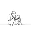 continuous single drawn one line father play guitar and sing a song to his daughter drawn by hand picture. Line art. doodle