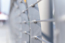 Detail Of Modern Sling Fence, Stainless Steel Wire Rope Balustrade