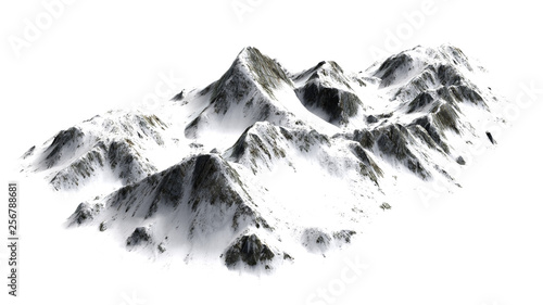 Snowy  Mountains panorama - separated on white background #256788681