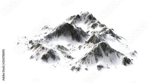 Snowy  Mountains panorama - separated on white background #256788693