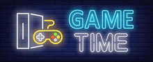 Game Time Neon Text With Game ...