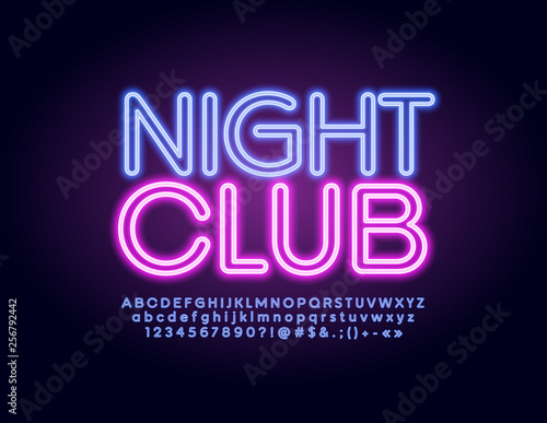 Vector illuminated emblem Night Club with modern glowing Alphabet. Neon trendy Font. Violet Letters, Numbers and Symbols