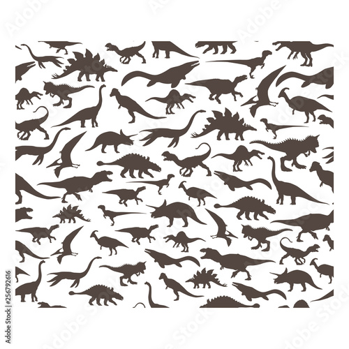 Cuadros en Lienzo Vector pattern. Set of herbivores and carnivorous dinosaurs