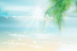 View of the sunny beach with a palm tree. Blue Lagoon. Vector Illustration.