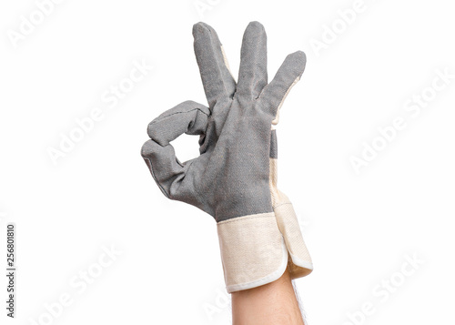 Worker showing gesture - ok sign Canvas Print