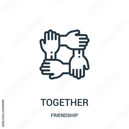 Canvas Print together icon vector from friendship collection