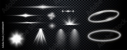 Obraz Set of  white transparent lens flares and lighting effects. Vector - fototapety do salonu