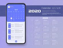 Mobile App Calendar 2020 Week Start Sunday Corporate Design Template Vector Tasks UI UX Design Mockup Vector.  GUI UI UX Template Layout. Blue Calendar Widget Event.