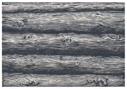 Obraz Texture of a wall of wooden logs in color. Illustration in graphic style. - fototapety do salonu