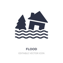 Flood Icon On White Background. Simple Element Illustration From Weather Concept.