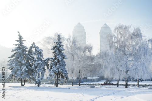 A Winter scene in Dnipro. Winter city, frosty morning. Ukraine