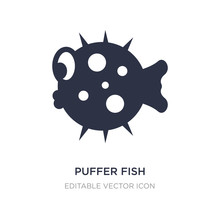 Puffer Fish Icon On White Back...