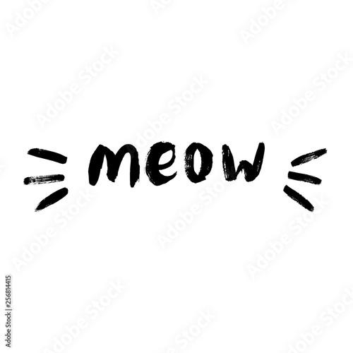 Obraz na płótnie Cute meow cat quotes illustartion vector