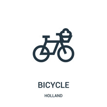 Bicycle Icon Vector From Holland Collection. Thin Line Bicycle Outline Icon Vector Illustration. Linear Symbol For Use On Web And Mobile Apps, Logo, Print Media.