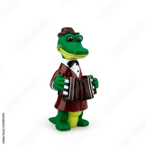 Valokuva  Children's toy Gena the crocodile on white background