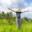 Relaxed fashionable female traveler wearing small backpack and traditional asian paddy hat, arms rised to sky, enjoying pure nature at beautiful green rice fields and terraces on Bali island.