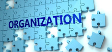 Organization Puzzle - Complexity, Difficulty, Problems And Challenges Of A Complicated Concept Idea Pictured As A Jigsaw Puzzle Tiles With A English Word, 3d Illustration