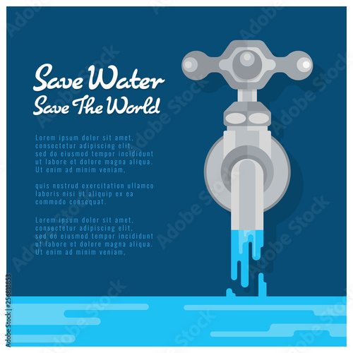 Obraz na plátně Save water save world banner with water tap are open water vector design