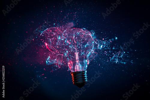 Photo  explosion of light bulb glass
