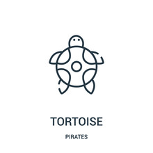 Tortoise Icon Vector From Pirates Collection. Thin Line Tortoise Outline Icon Vector Illustration. Linear Symbol For Use On Web And Mobile Apps, Logo, Print Media.