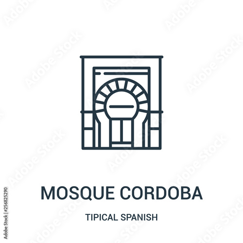mosque cordoba icon vector from tipical spanish collection. Thin line mosque cordoba outline icon vector illustration. Linear symbol for use on web and mobile apps, logo, print media.