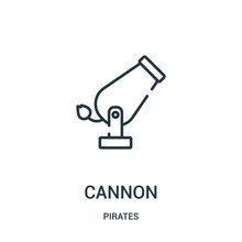 Cannon Icon Vector From Pirates Collection. Thin Line Cannon Outline Icon Vector Illustration. Linear Symbol For Use On Web And Mobile Apps, Logo, Print Media.