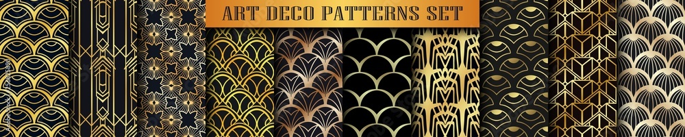 Fototapety, obrazy: Vintage ornamental art deco retro seamless backgrounds and textures set . Vector illustrations in this collection can be used for wrapping paper, wallpapers, tiling, flooring, fabric, textile