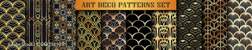 Vintage ornamental art deco retro seamless backgrounds and textures set . Vector illustrations in this collection can be used for wrapping paper, wallpapers, tiling, flooring, fabric, textile