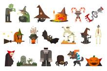 Set Of Scary Halloween Charact...