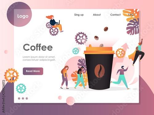 Fototapeta Coffee vector website landing page design template