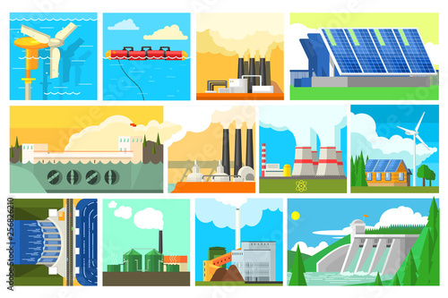 Fotografie, Obraz  Types of electricity generation plants and alternative energy sources