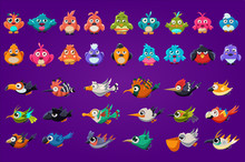 Set Of Cartoon Birds. Funny Creatures With Big Shiny Eyes. Gaming Assets. Colorful Graphic Elements For Computer Or Mobile Game Interface. Flat Vector Icons