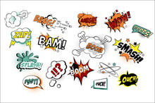 Vector Set Of Speech Bubbles In Pop Art Style With Text. Various Sound Replicas Bang, Oops, Boom, Zap. Cartoon Design Elements For Comics Book Or Mobile Game
