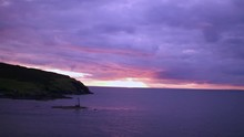 Sunset At The Calf/Sound. Isle Of Man. Drone 4K