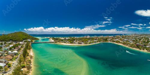 Tuinposter Dubai Aerial drone view, Tallebudgera Creek and beach on the Gold Coast, Queensland, Australia