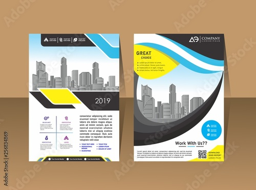 Fototapeta Abstract background annual report template, geometric design business brochure cover obraz na płótnie