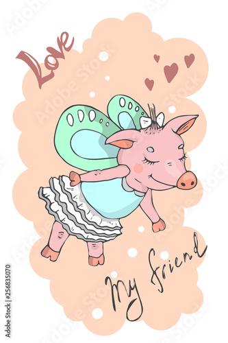 Photo  Vector illustration of a cute cartoon  piggy