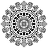 Skandynawska sztuka ludowa wektor mandali z kwiatami, kwiatowy okrągły ornament, Nordic design z kwiatami w kręgu, etniczne skład - 256835673
