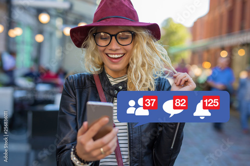 Fototapeta Woman excited about getting attention on social media obraz