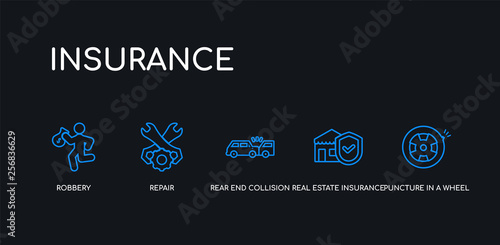 Photo  5 outline stroke blue puncture in a wheel, real estate insurance, rear end collision, repair, robbery icons from insurance collection on black background