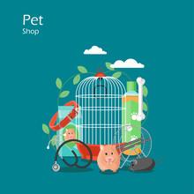 Pet Shop Vector Flat Style Des...