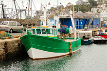 Green Fishing Trawler Moored L...