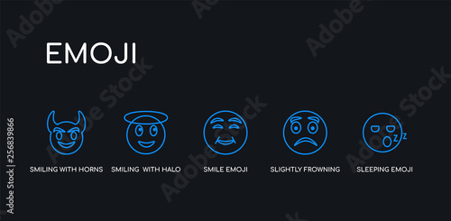 5 outline stroke blue sleeping emoji, slightly frowning emoji, smile emoji, smiling  with halo smiling with horns icons from collection on black background Wallpaper Mural