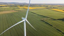 Photos Of Wind Turbines Providing Renewable Green Energy In England In The Country Side